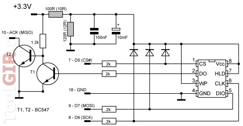 Схема spipgm для чипов памяти на 1.8В